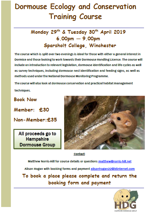 Dormouse Conservation and Ecology Training Course April 2019